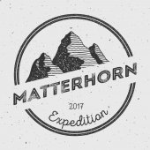 Matterhorn in Alps, Italy outdoor adventure logo.