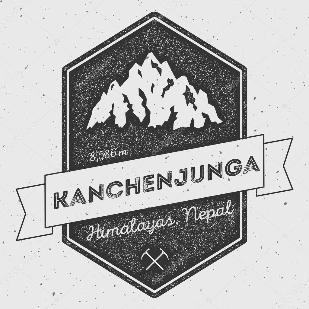 Kanchenjunga in Himalayas, India outdoor adventure logo.