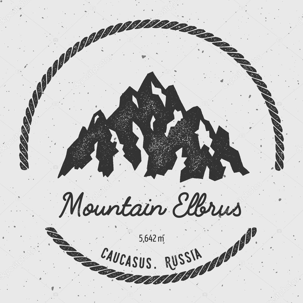 Elbrus in Caucasus, Russia outdoor adventure logo.