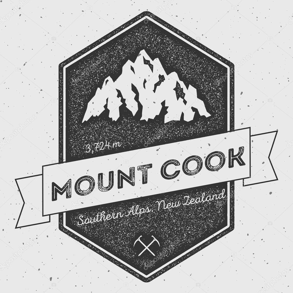 Mount Cook in Southern Alps, New Zealand outdoor adventure logo.