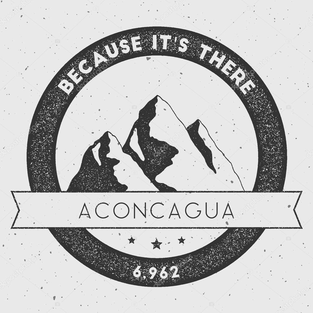 Aconcagua in Andes, Argentina outdoor adventure logo.