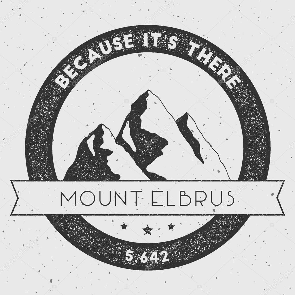 Elbrus in Caucasus, Russia outdoor adventure logo.