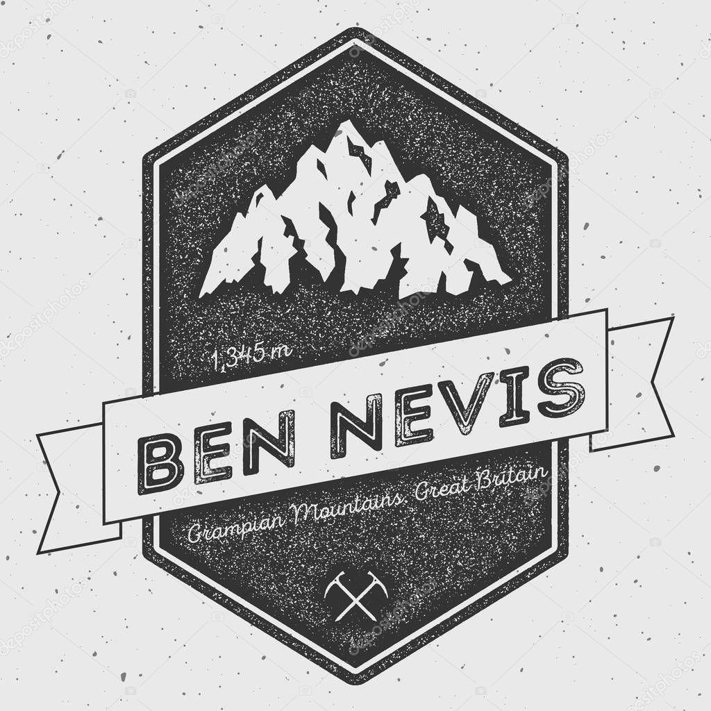 Ben Nevis in Grampian Mountains, Great Britain outdoor adventure logo.