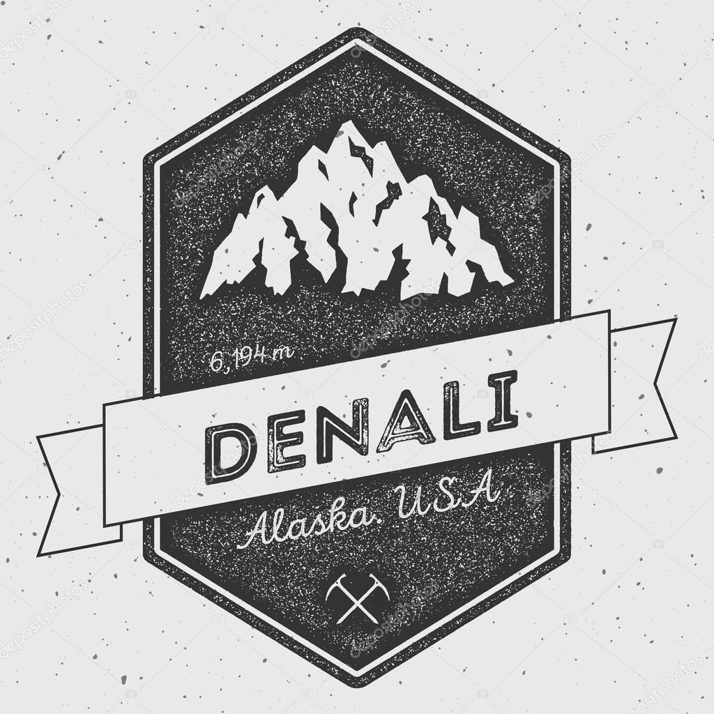 Denali in Alaska, USA outdoor adventure logo.