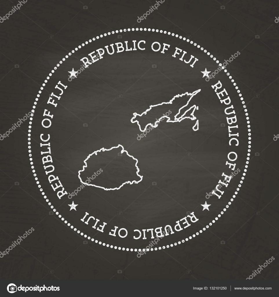 White Chalk Texture Vintage Seal With Republic Of Fiji Map On A - Republic of fiji map