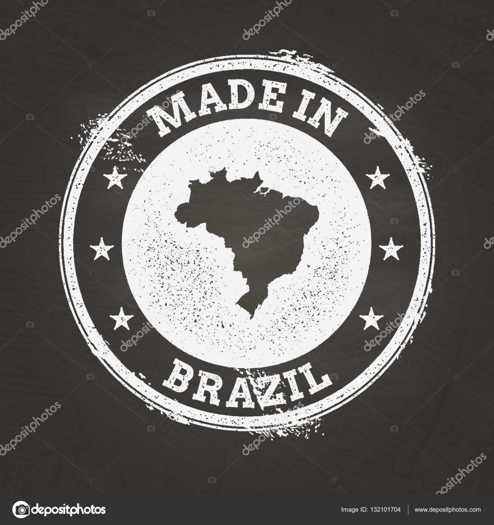 White Chalk Texture Made In Stamp With Federative Republic Of - Federative republic of brazil map