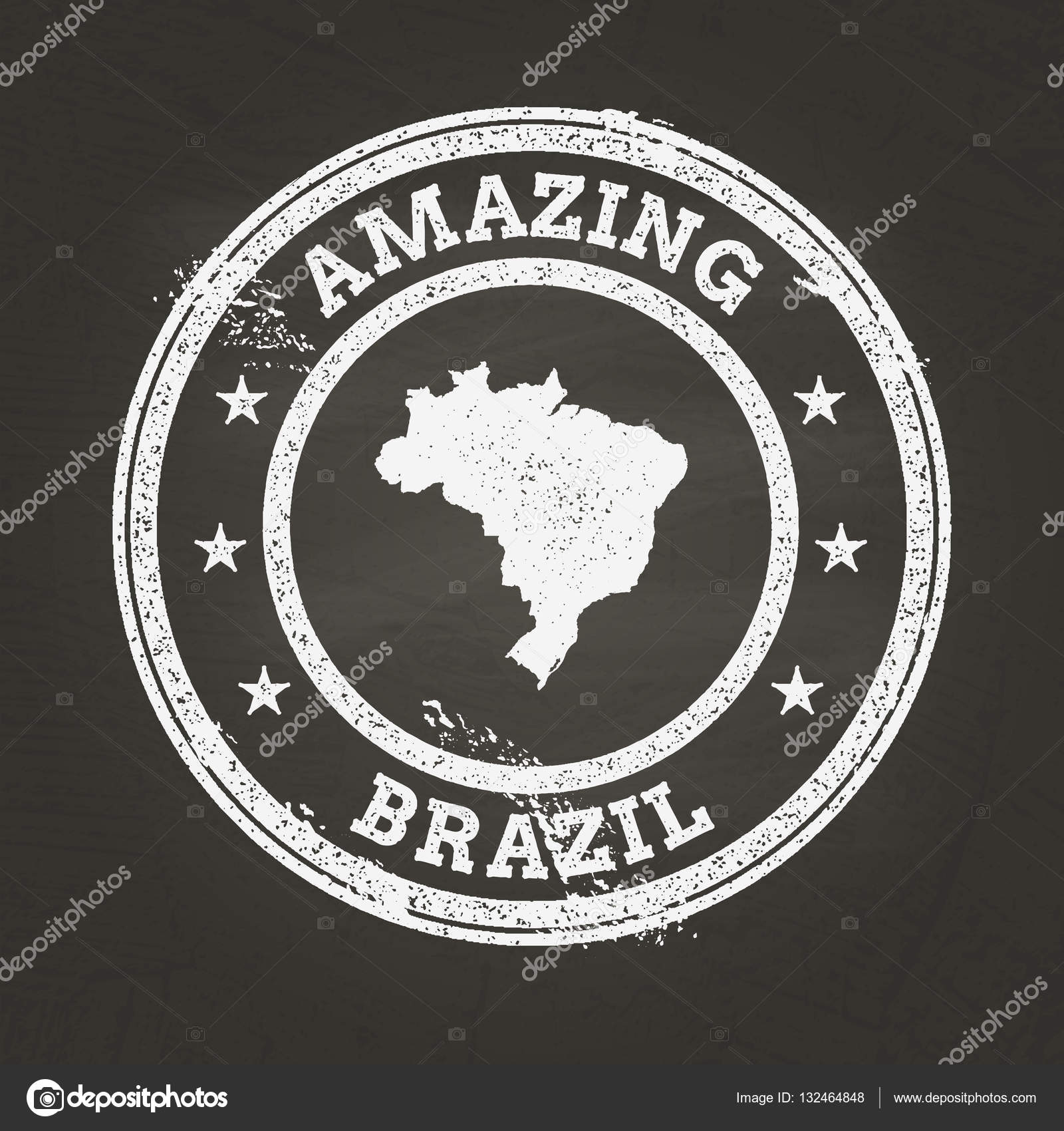 White Chalk Texture Vintage Stamp With Federative Republic Of - Federative republic of brazil map