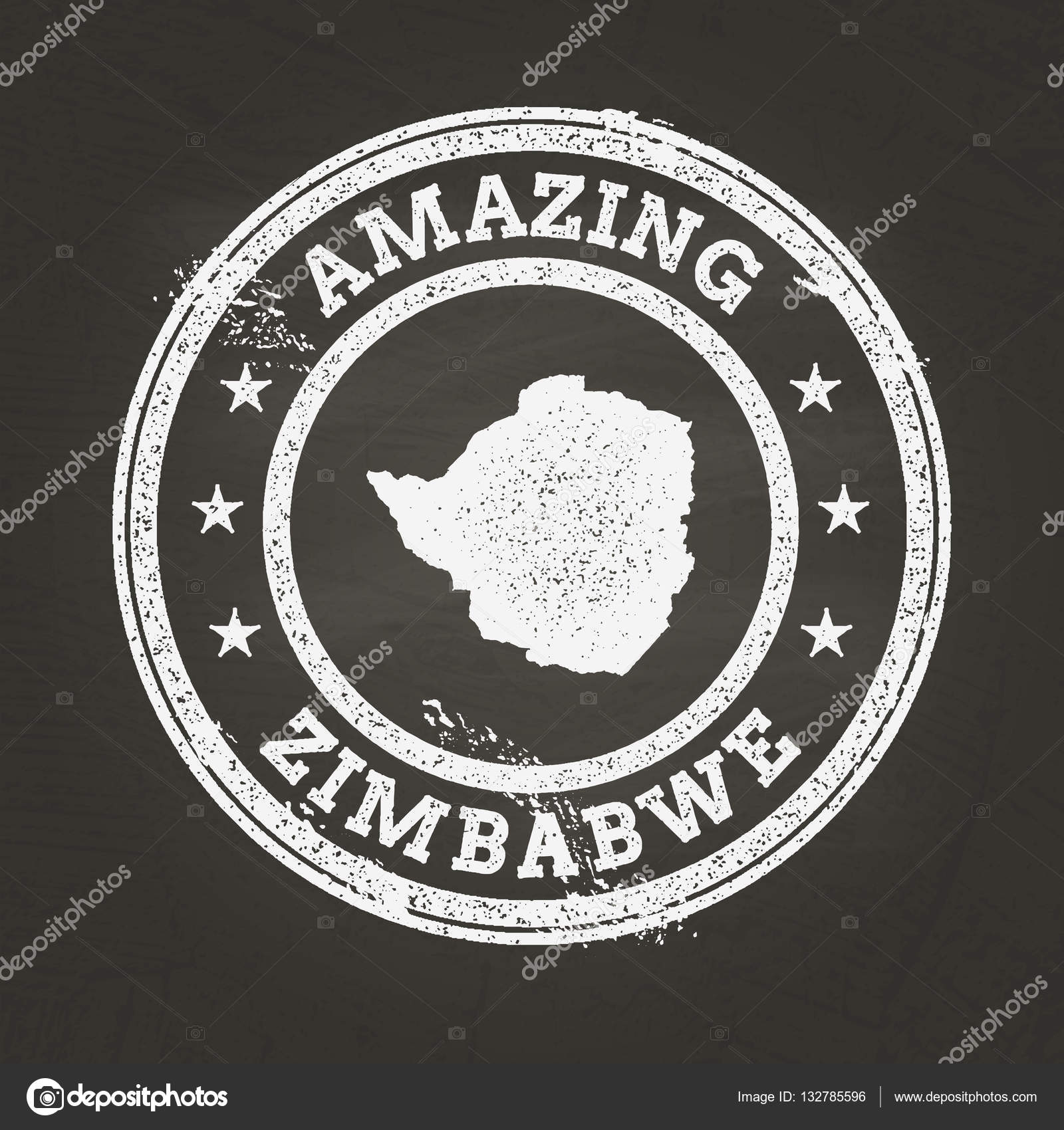 White Chalk Texture Vintage Stamp With Republic Of Zimbabwe Map On - Republic of zimbabwe map