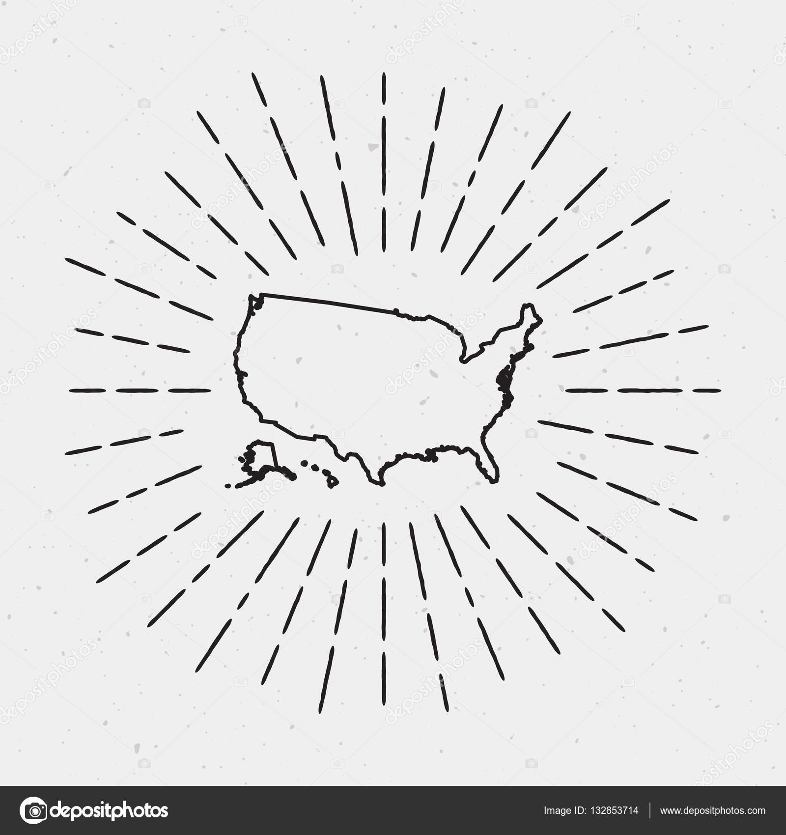 Vector United States Map Outline with Retro Sunburst Border ...