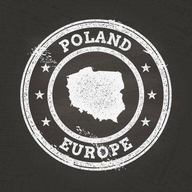 White chalk texture grunge stamp with Republic of Poland map on a school blackboard.