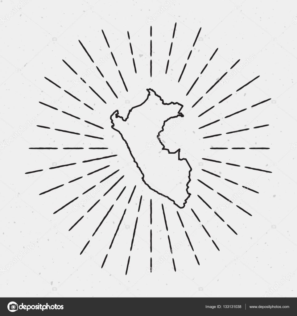 Peru Karte Umriss.Vektor Peru Karte Umriss Mit Retro Sunburst Grenze