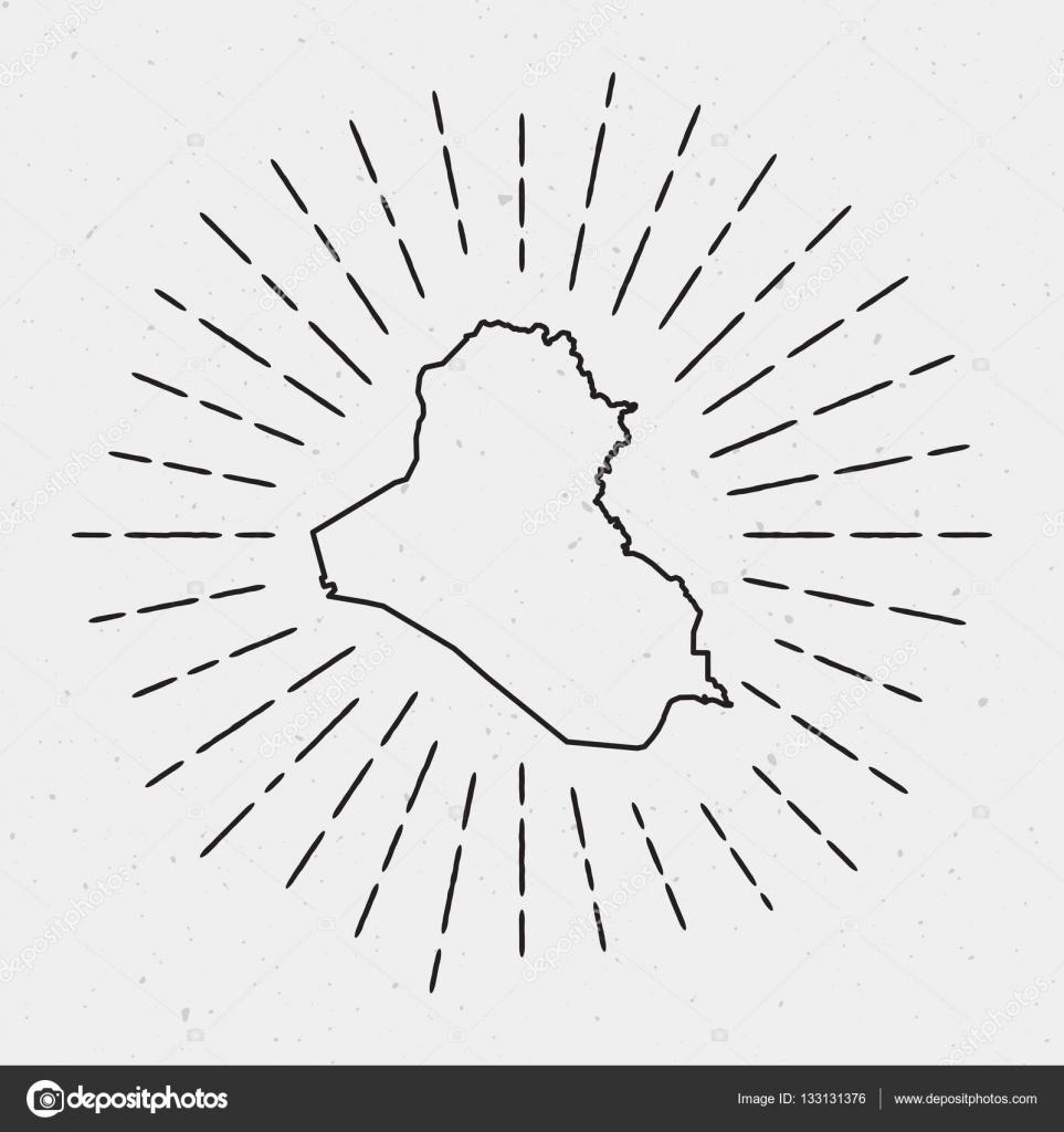 Vector Iraq Map Outline with Retro Sunburst Border  — Stock Vector