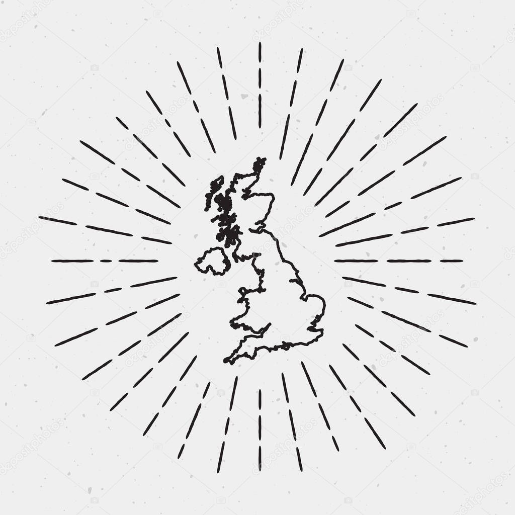 Großbritannien Karte Umriss.Vektor Großbritannien Karte Umriss Mit Retro Sunburst Grenze