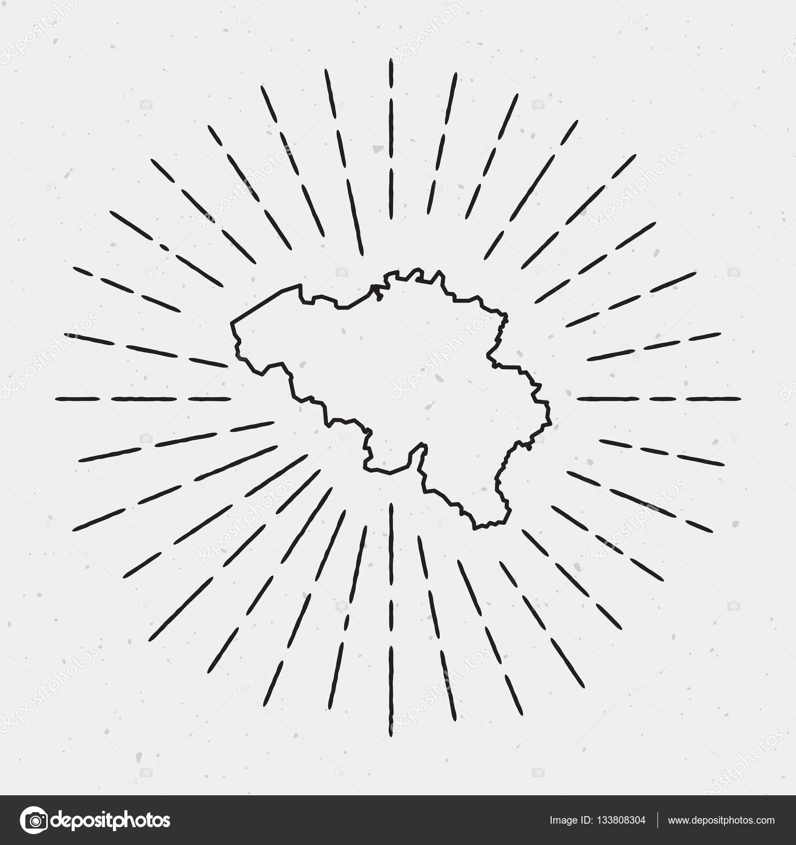 Belgien Karte Umriss.Vektor Belgien Karte Umriss Mit Retro Sunburst Grenze Stockvektor
