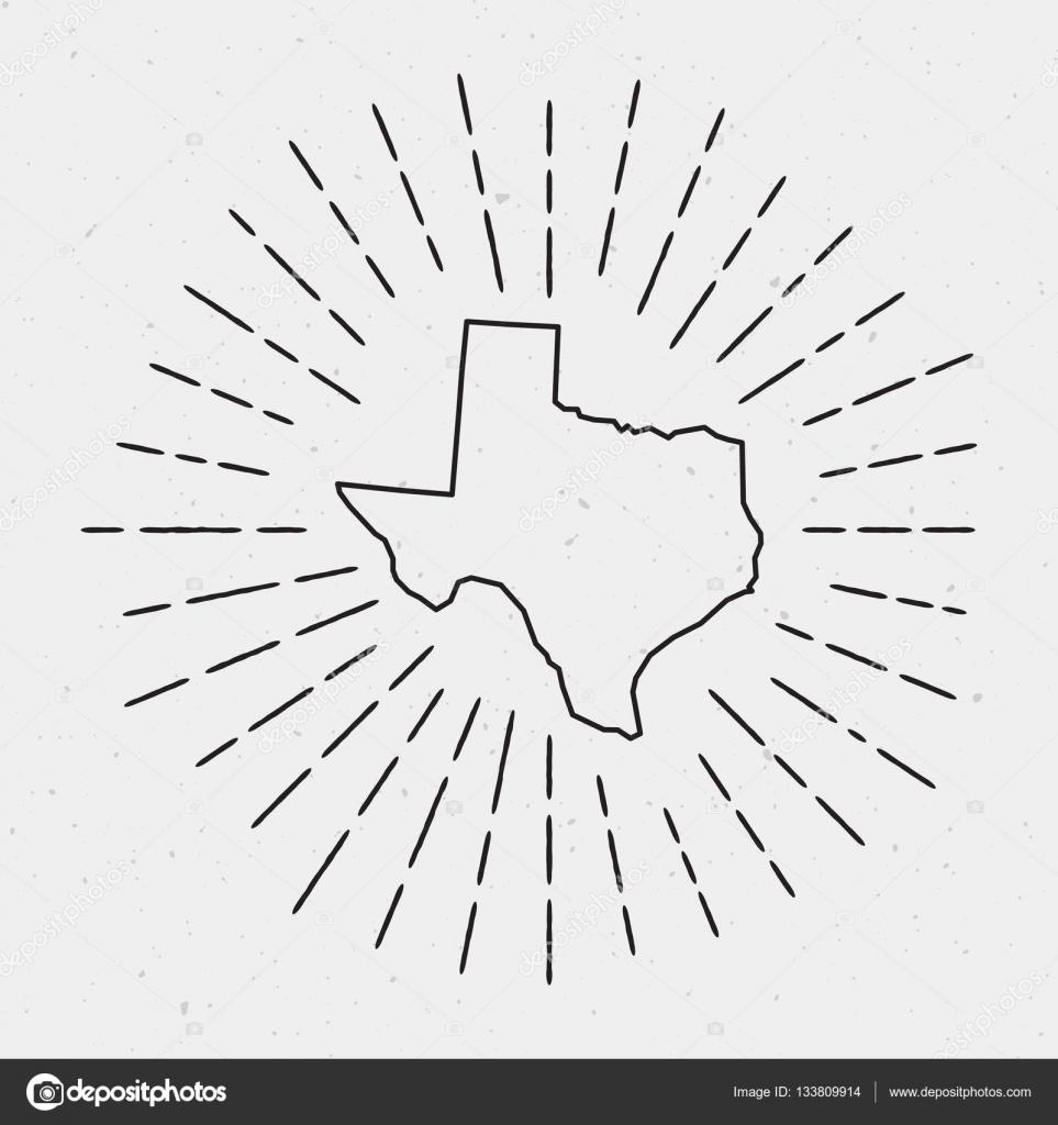 Vector USA Map Outline with Retro Sunburst Border — Stock Vector ...