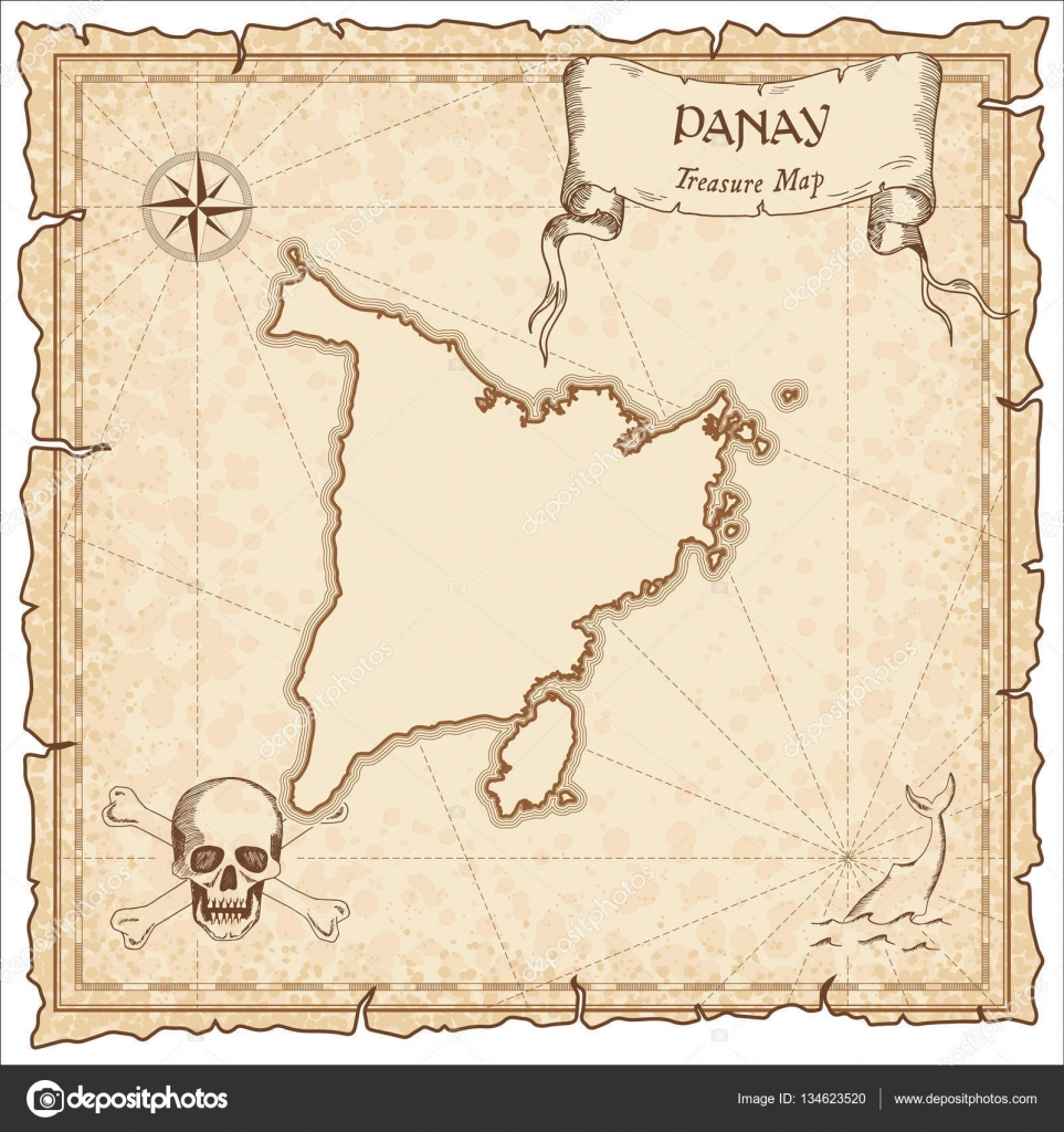 Panay Old Pirate Map Sepia Engraved Parchment Template Of Treasure
