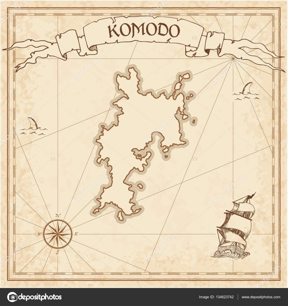 Relativ Komodo Schatz Karte Sepia gravierte Vorlage Piraten Insel CN53