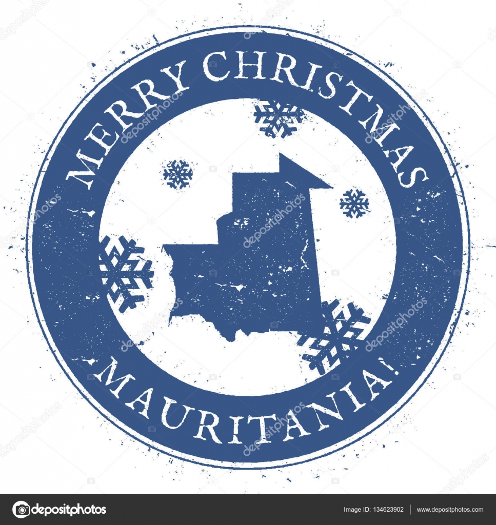 Mauritania Map Vintage Merry Christmas Mauritania Stamp Stylised - Mauritania map download