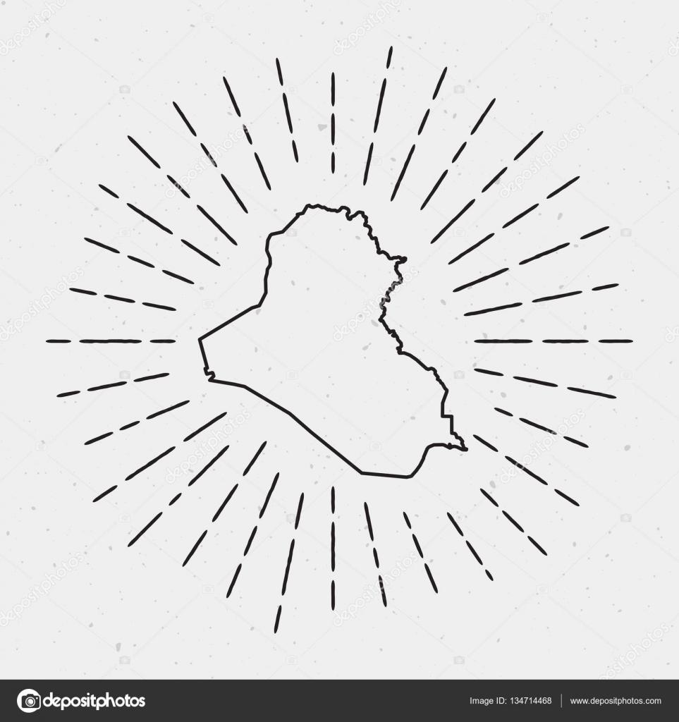 Vector Iraq Map Outline With Retro Sunburst Border Hand Drawn - Iraq map outline