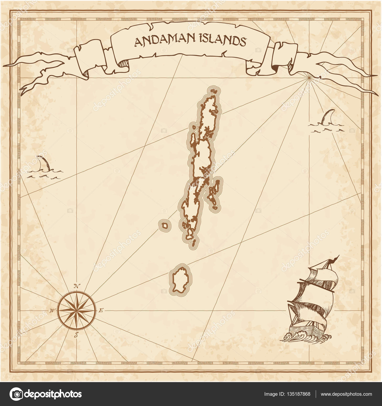 Andaman Islands Old Treasure Map Sepia Engraved Template Of Pirate