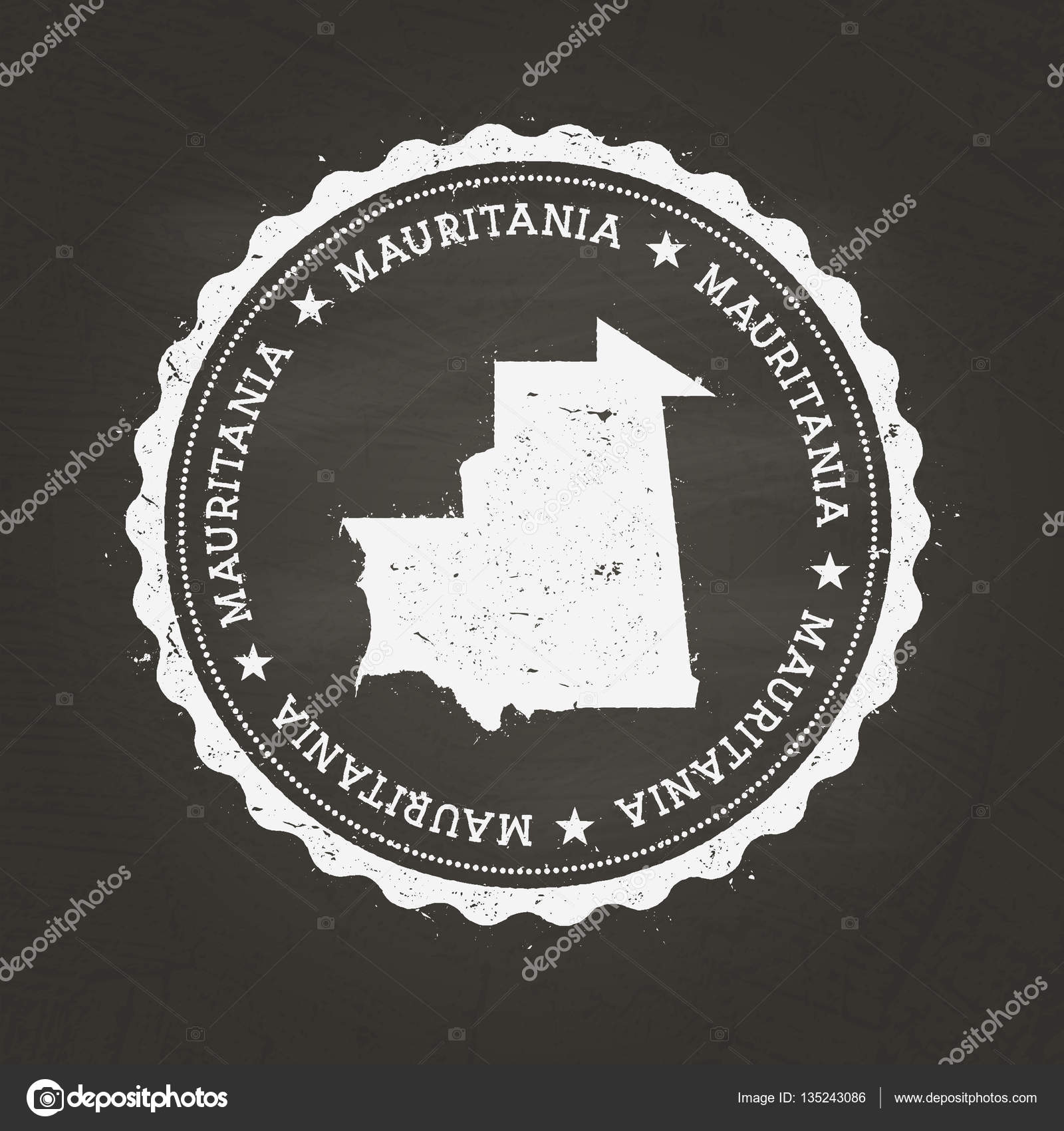 White Chalk Texture Rubber Stamp With Islamic Republic Of - Mauritania map download