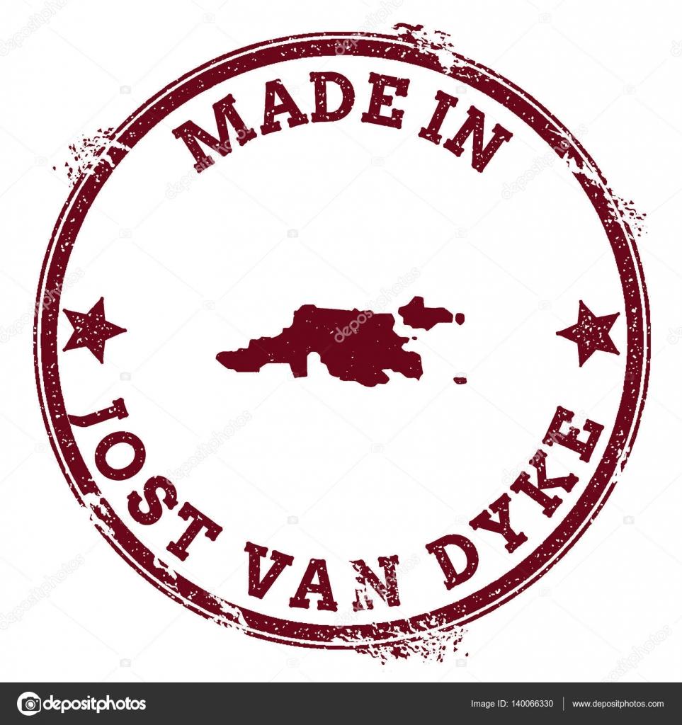 Jost Van Dyke seal Vintage island map sticker Grunge rubber stamp