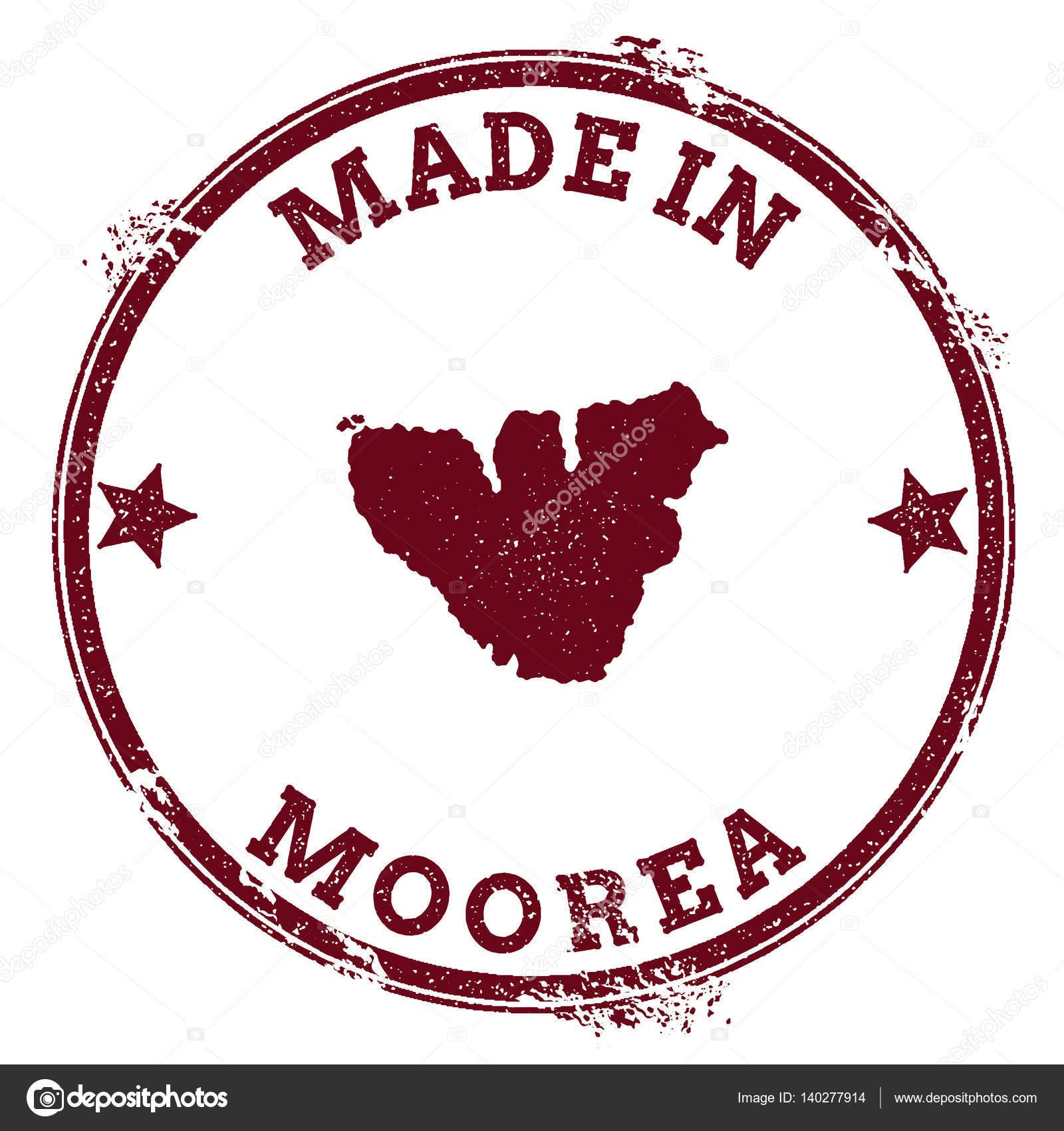 Moorea Seal Vintage Island Map Sticker Grunge Rubber Stamp