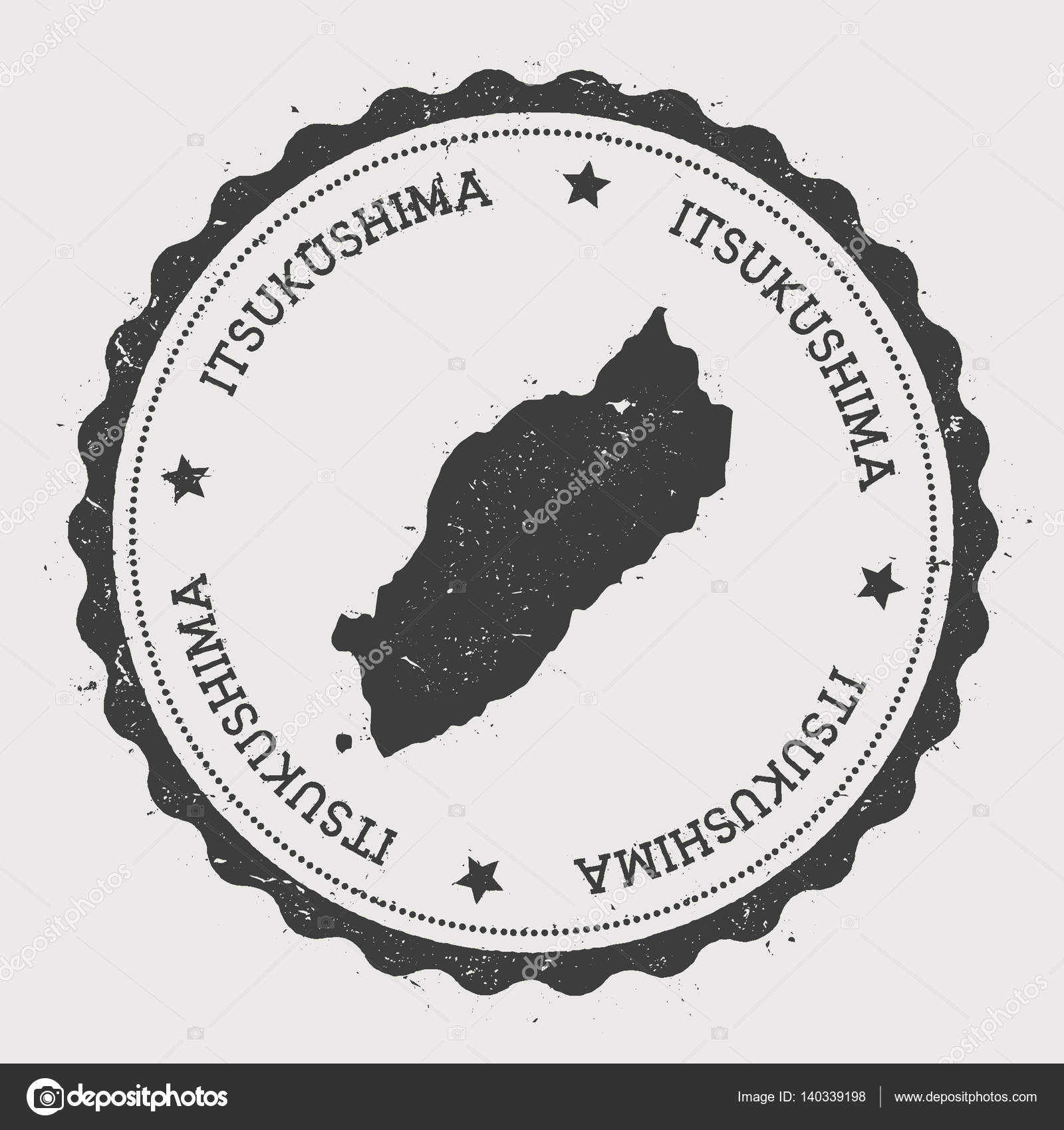 Itsukushima sticker Hipster round rubber stamp with island map