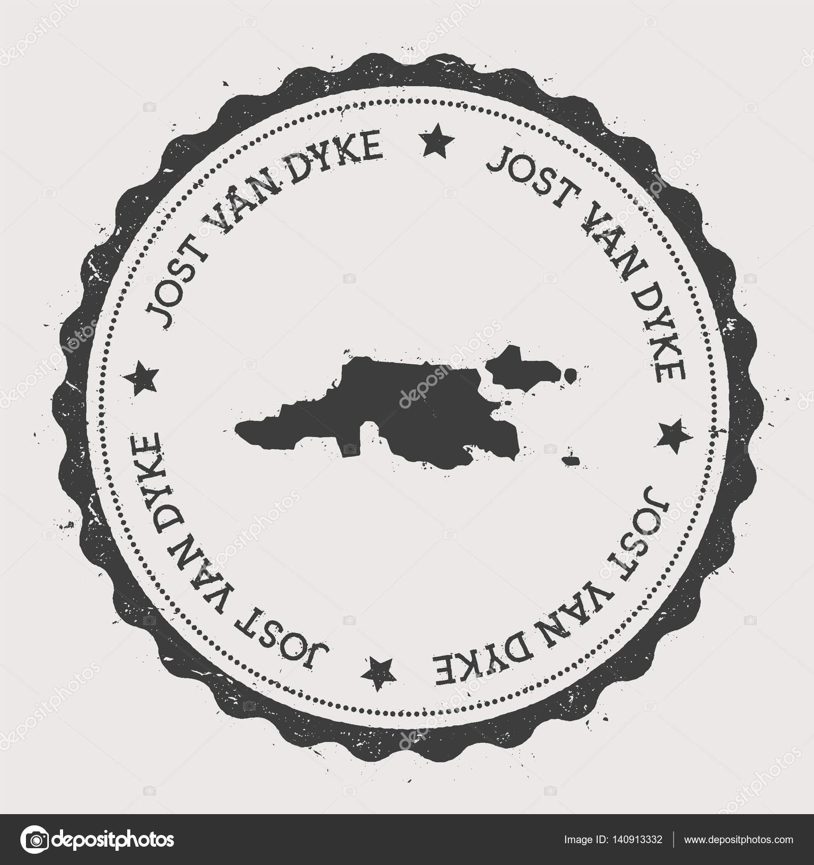 Jost Van Dyke sticker Hipster round rubber stamp with island map