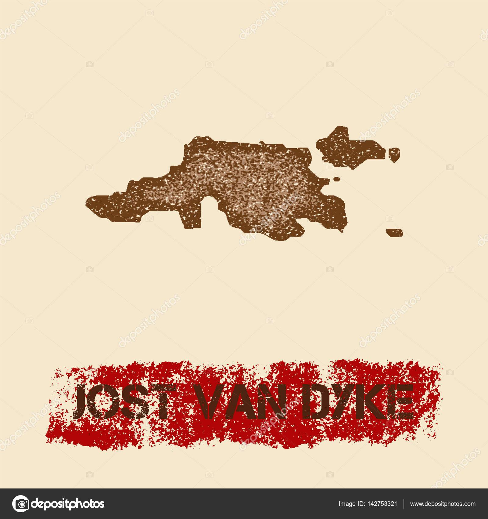 Jost Van Dyke distressed map Grunge patriotic poster with textured