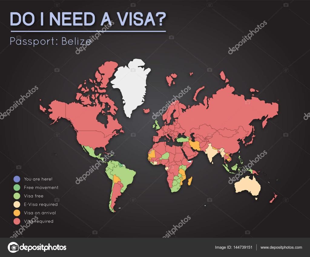 Visas Information For Belize Passport Holders Year 2017 World Map
