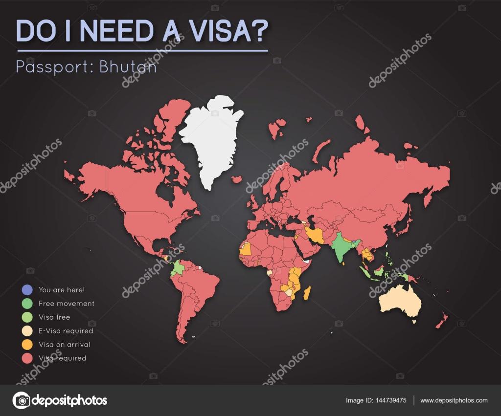 World Map Bhutan.Visas Information For Kingdom Of Bhutan Passport Holders Year 2017