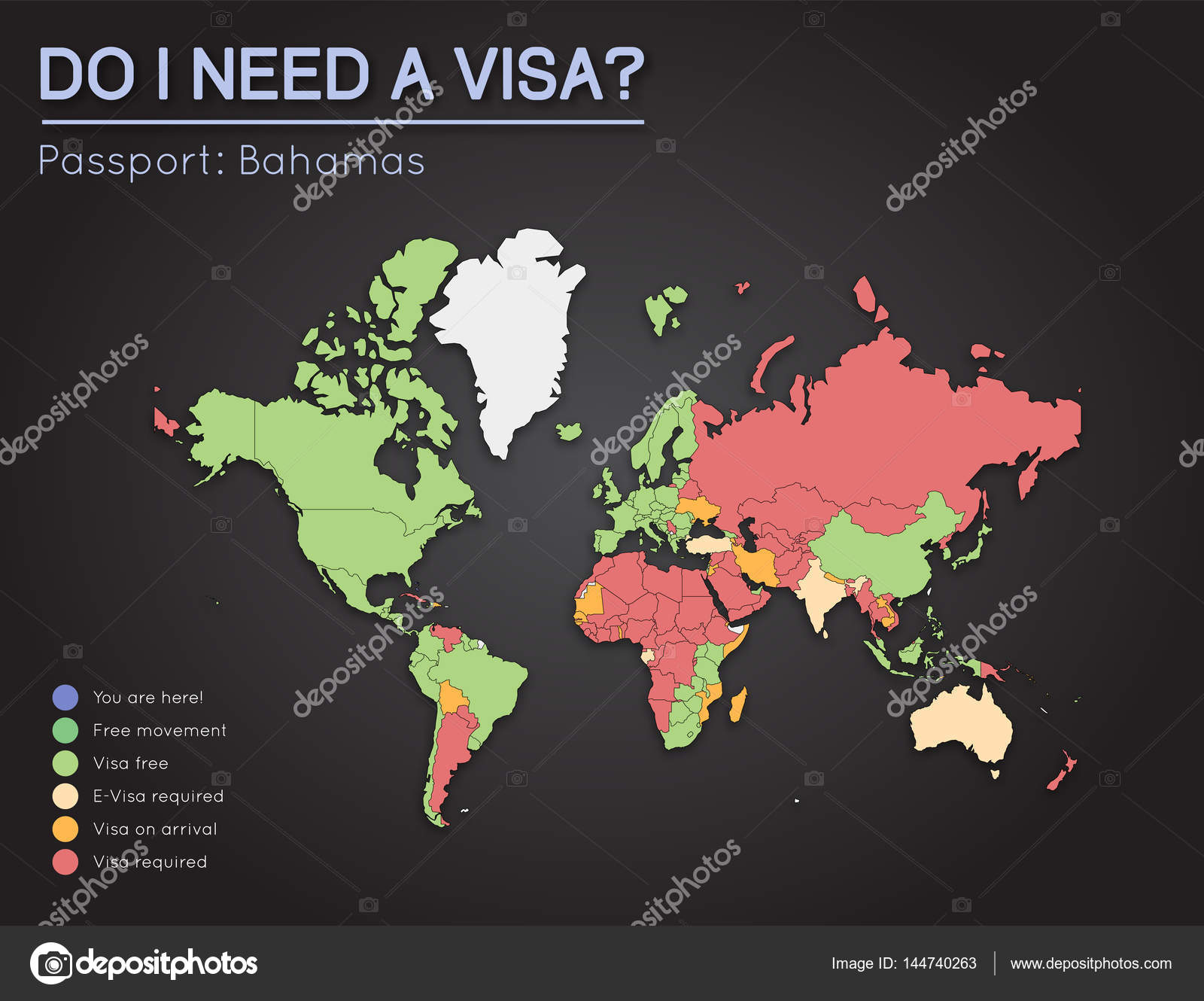 Visas information for commonwealth of the bahamas passport holders visas information for commonwealth of the bahamas passport holders year 2017 world map infographics showing visa requirements for all countries gumiabroncs Images