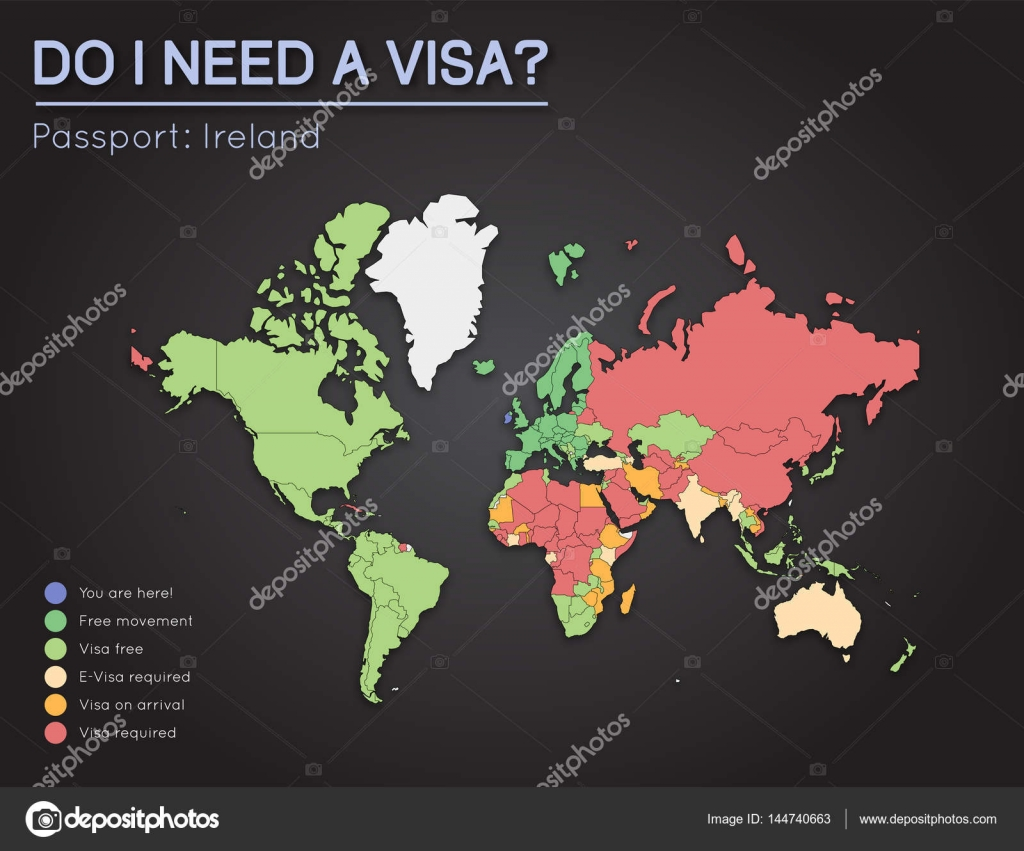 Visas information for ireland passport holders year 2017 world map visas information for ireland passport holders year 2017 world map infographics showing visa requirements for all countries vector illustration gumiabroncs Choice Image