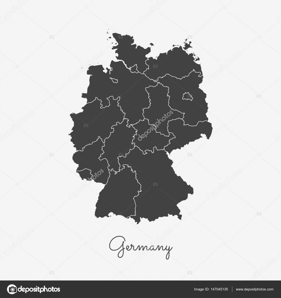 germany region map grey outline on white background detailed map of germany regions vector stock