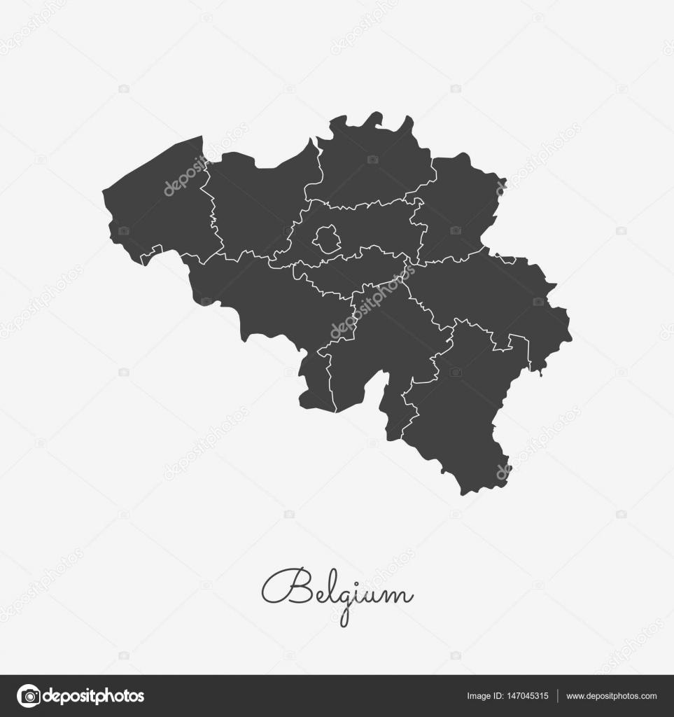 belgium region map grey outline on white background detailed map of belgium regions vector stock
