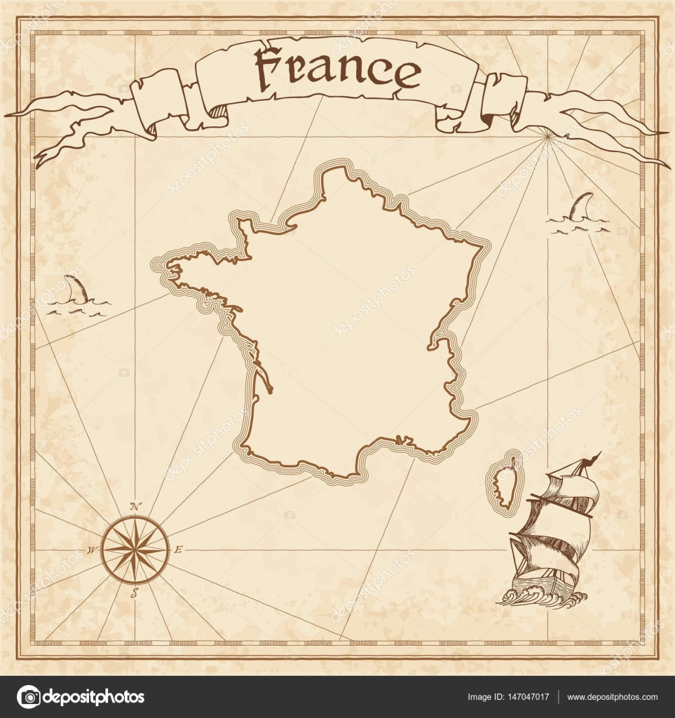 France Old Treasure Map Sepia Engraved Template Of Pirate Stylized On Vintage