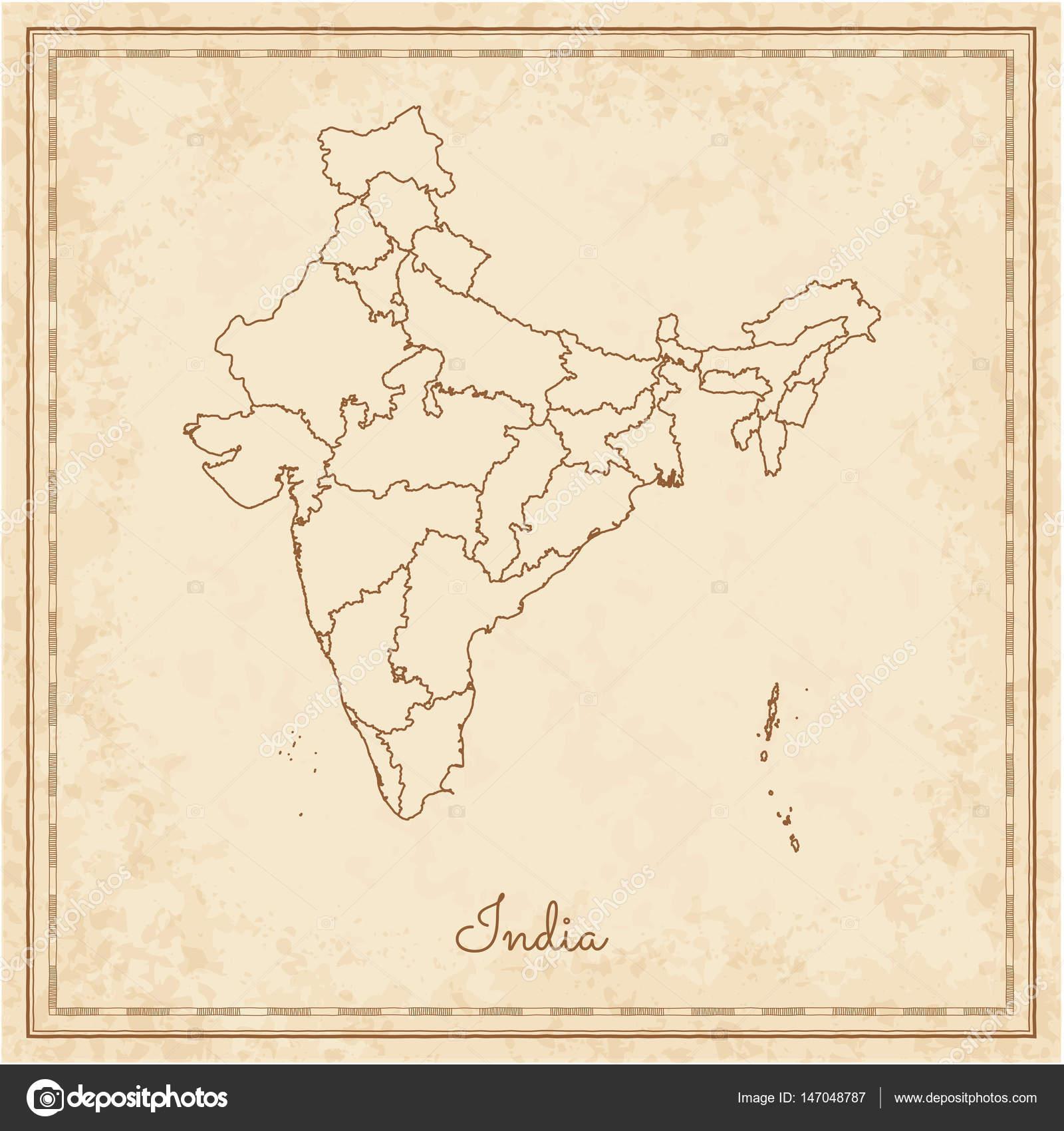 Indien Region Karte Stilyzed alten Piraten Pergament Nachahmung ...