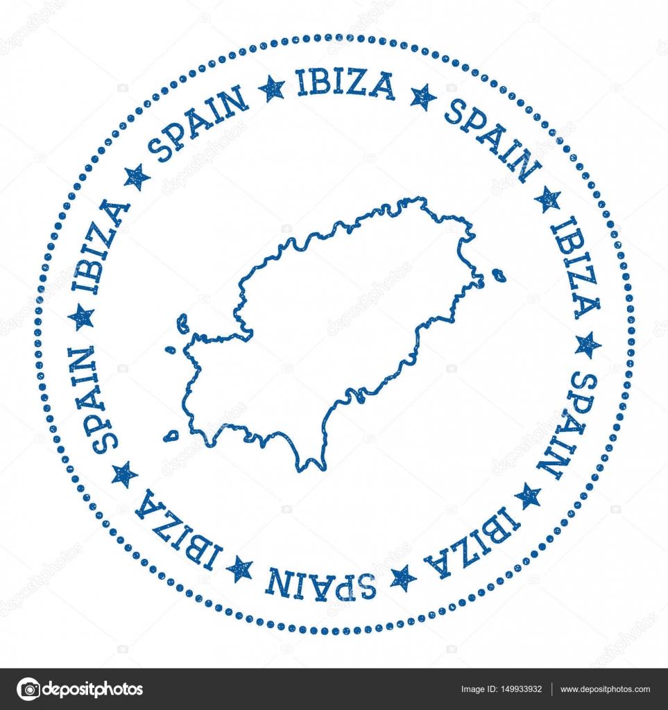 Ibiza Karte Umriss.Ibiza Karte Aufkleber Hipster Und Retro Stil Abzeichen
