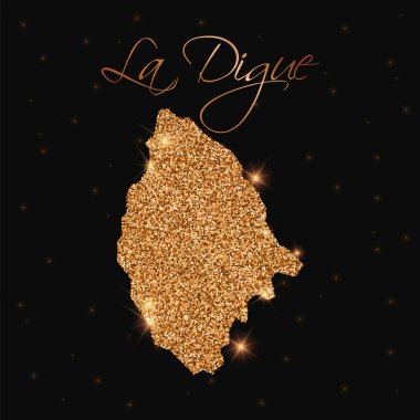 La Digue map filled with golden glitter Luxurious design element vector illustration