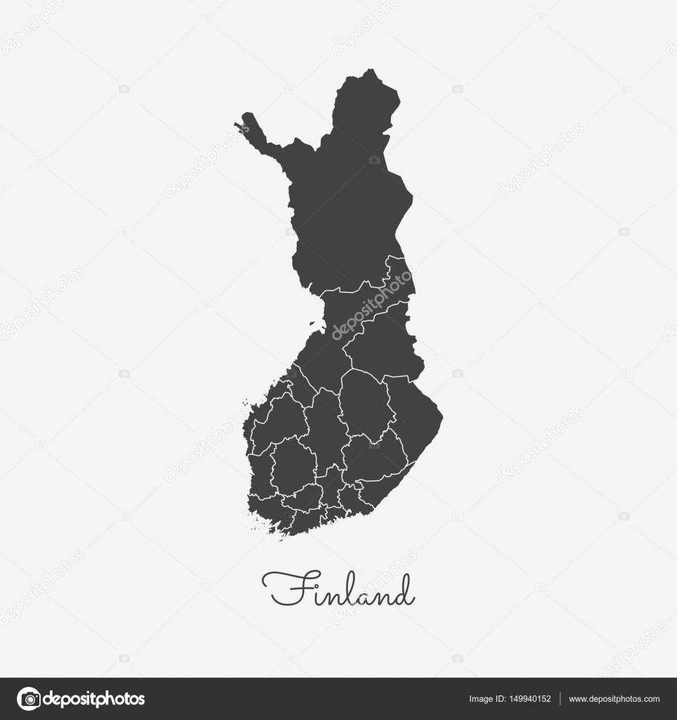 Finnland Karte Regionen.Finnland Region Karte Grauen Umriss Auf Weissem Hintergrund