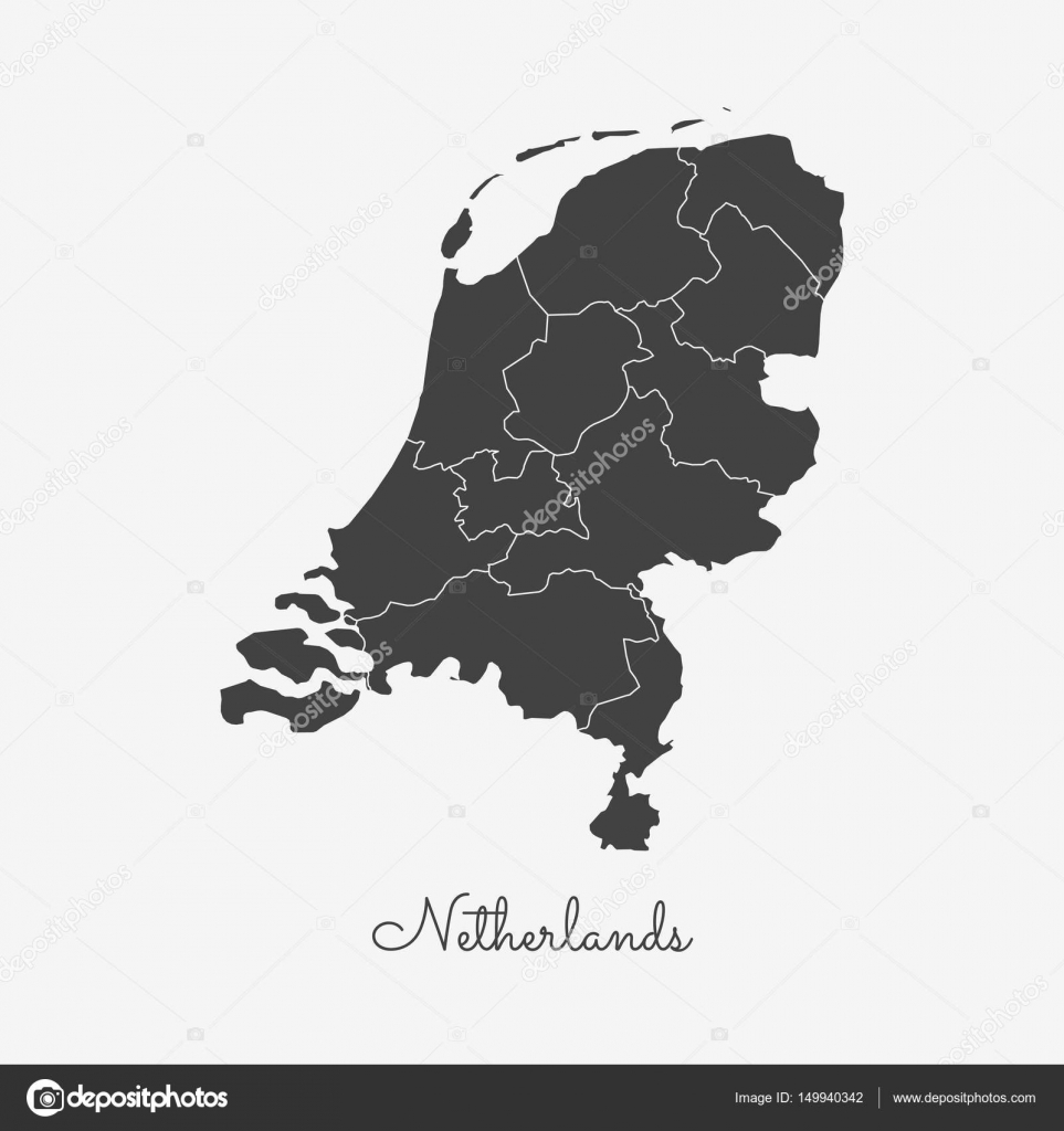 Niederlande Karte Umriss.Niederlande Region Karte Grauen Umriss Auf Weißem Hintergrund