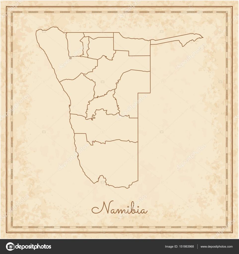 Karte Namibia Download.Namibia Region Map Stilyzed Old Pirate Parchment Imitation Detailed