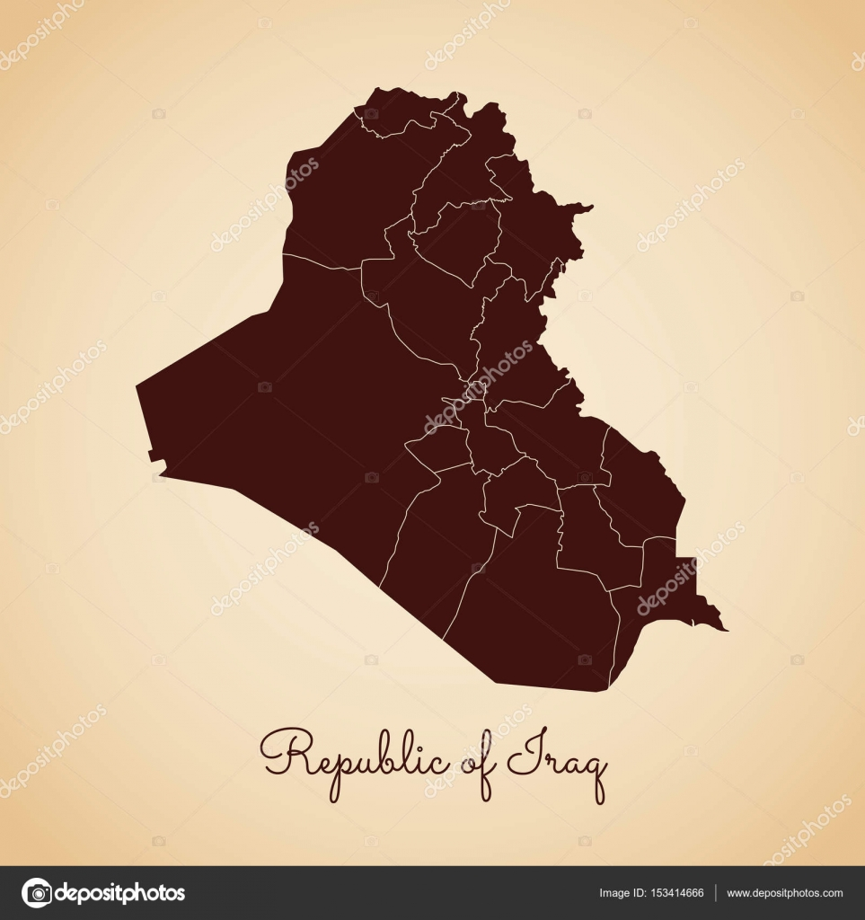 Republic Of Iraq Region Map Retro Style Brown Outline On Old Paper - Iraq map outline