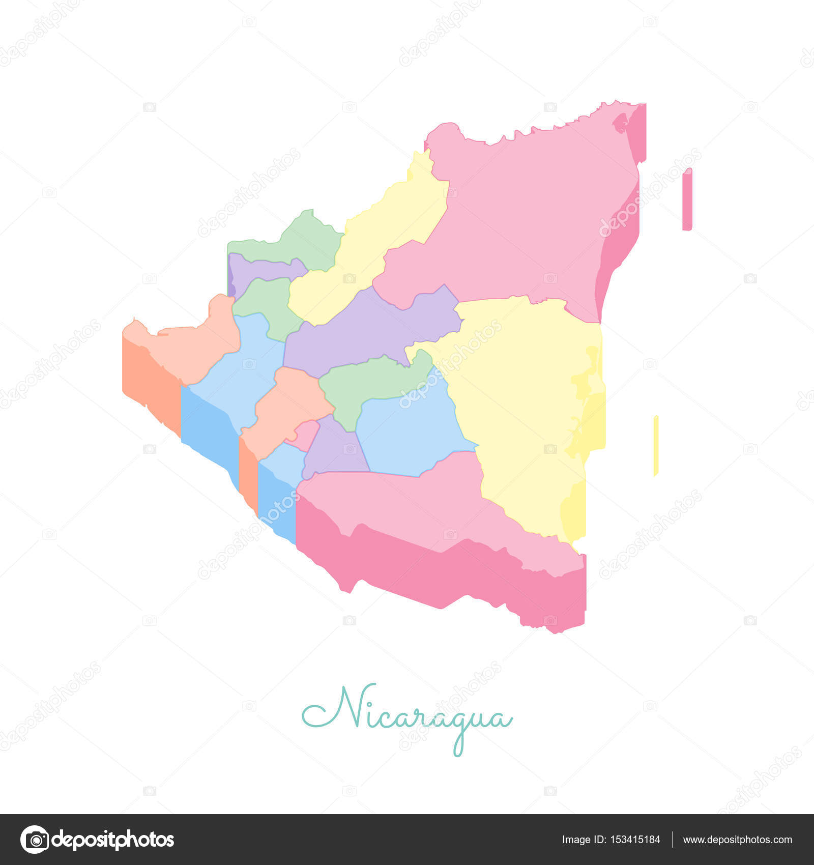 Nicaragua Region Map Colorful Isometric Top View Detailed Map Of - Nicaragua map download