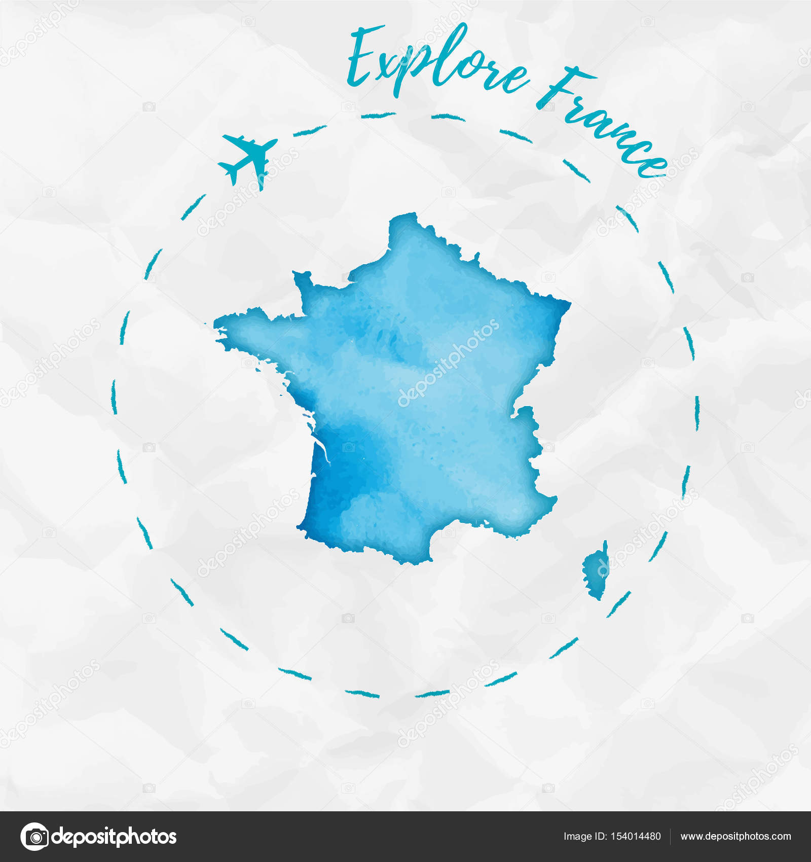 Map Of France Poster.France Watercolor Map In Turquoise Colors Explore France Poster With