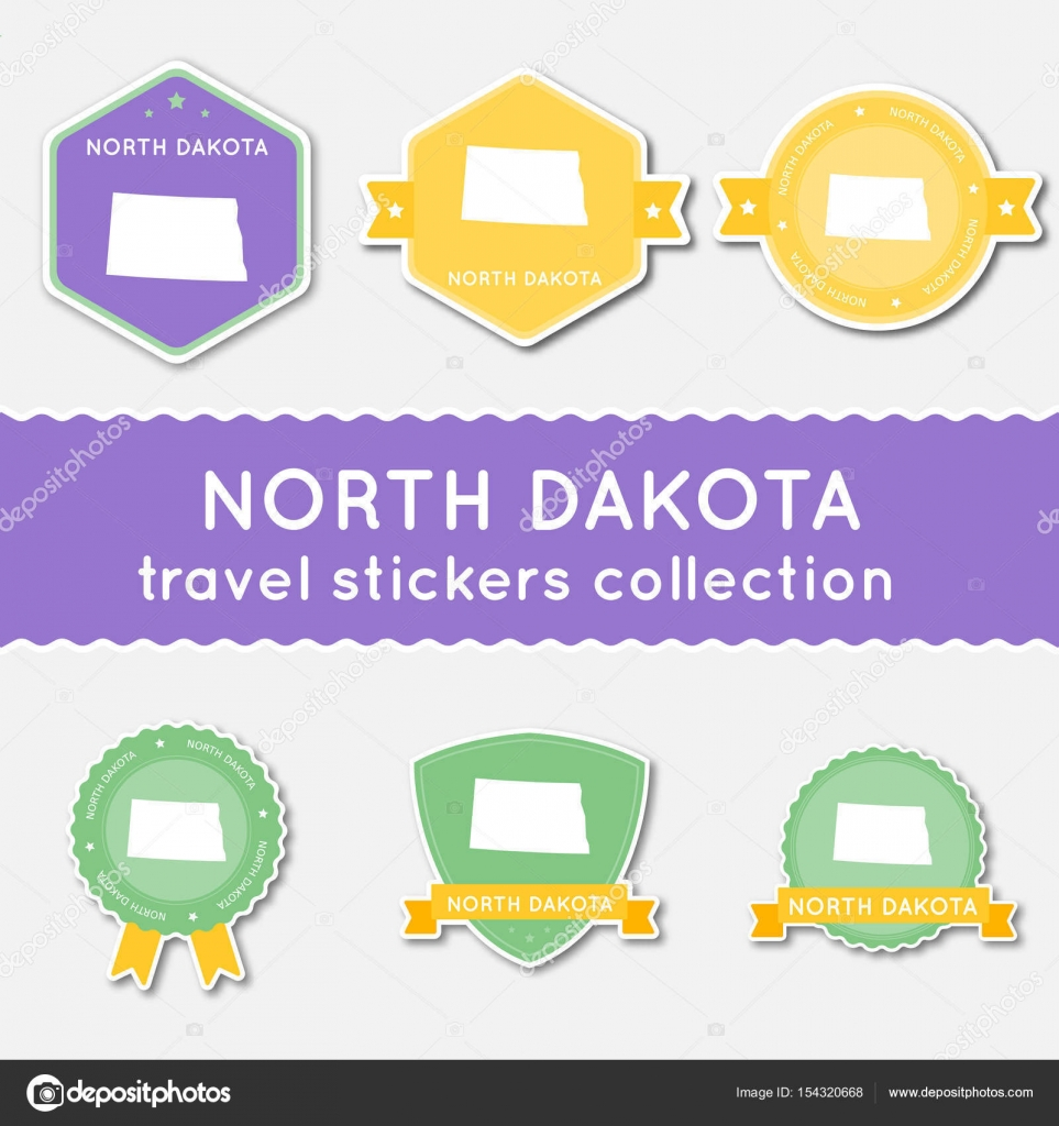 north dakota travel stickers collection big set of stickers with us state map and name flat