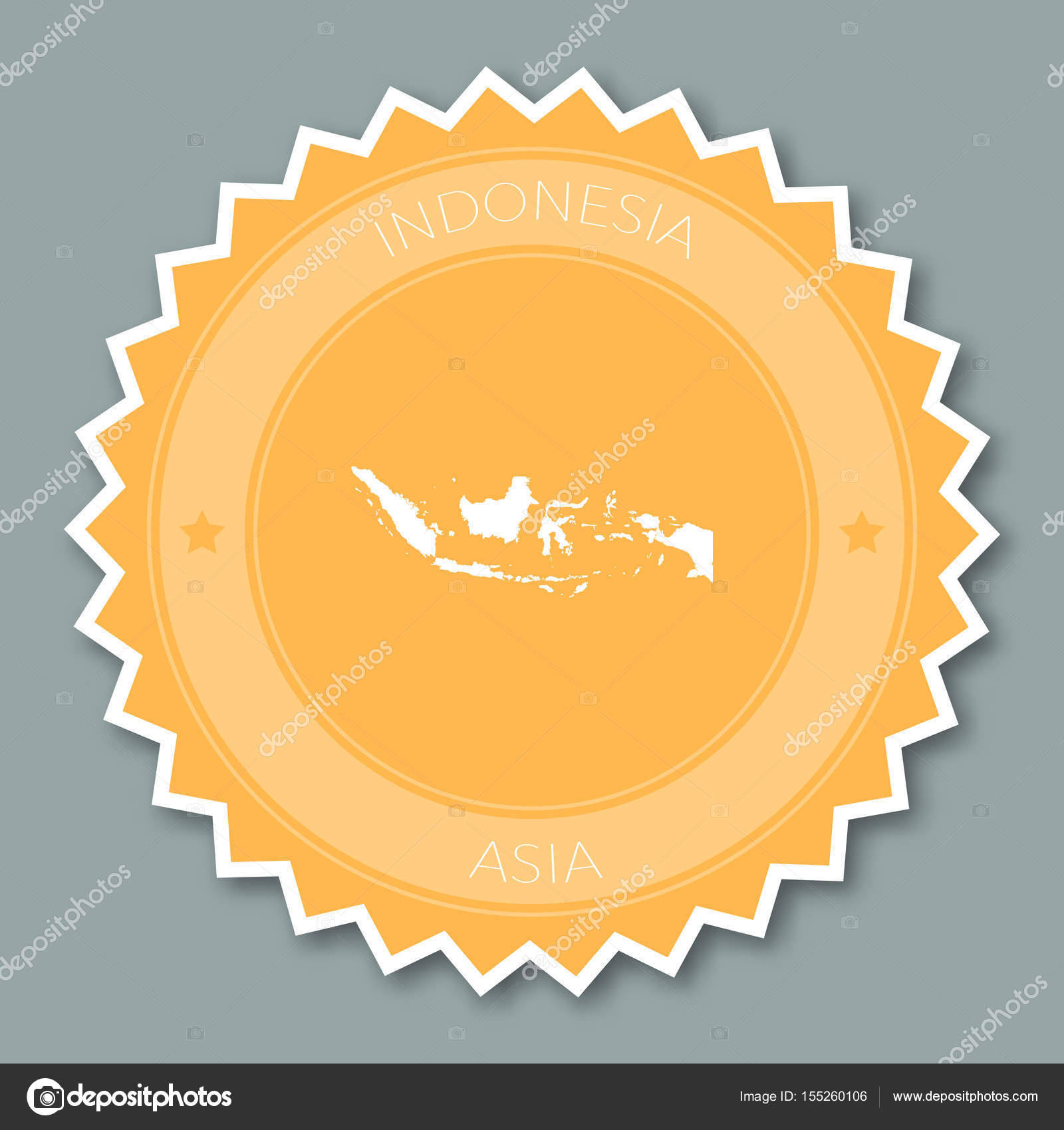 indonesia badge flat design round flat style sticker of trendy colors with country map and name stock vector c gagarych 155260106 https depositphotos com 155260106 stock illustration indonesia badge flat design round html