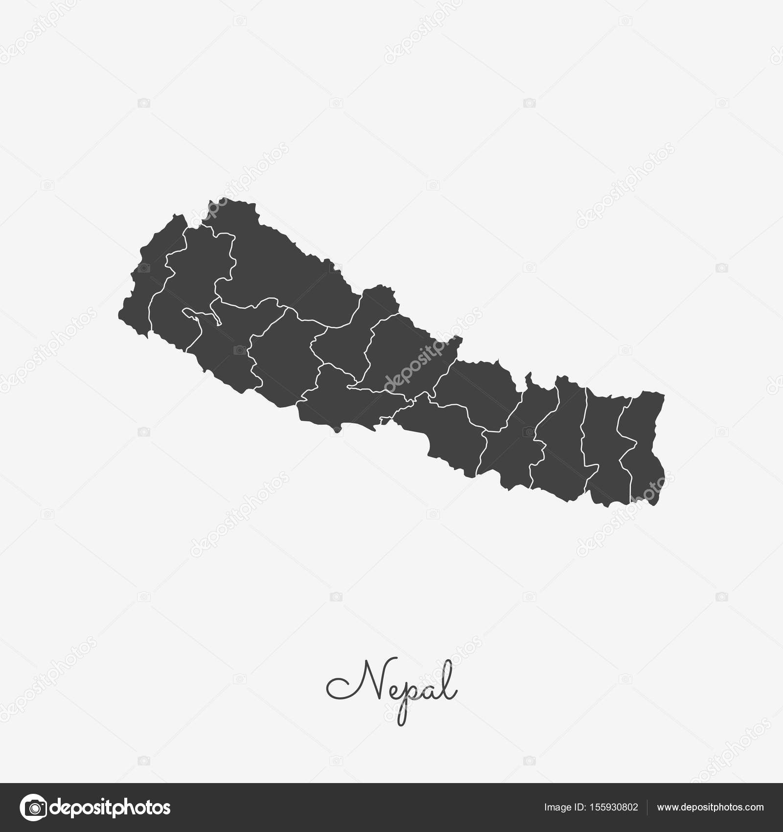 Nepal Karte Download.Nepal Region Map Grey Outline On White Background Detailed