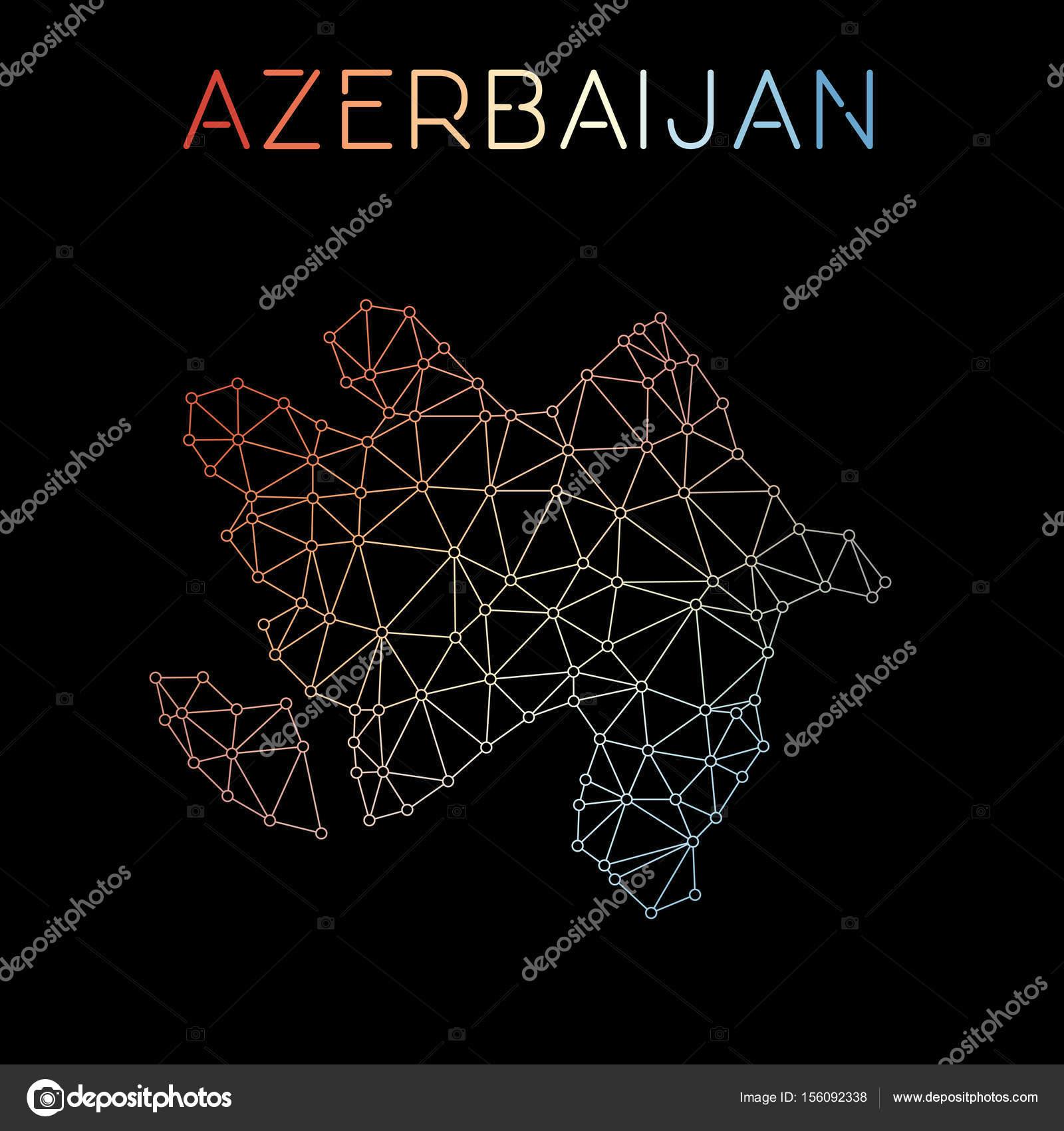 Aserbaidschan Netzwerk Karte abstrakte polygonalen Kartenentwurf ...